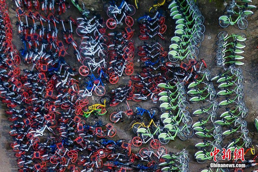 Aerial photos depict China's booming bike-sharing trend